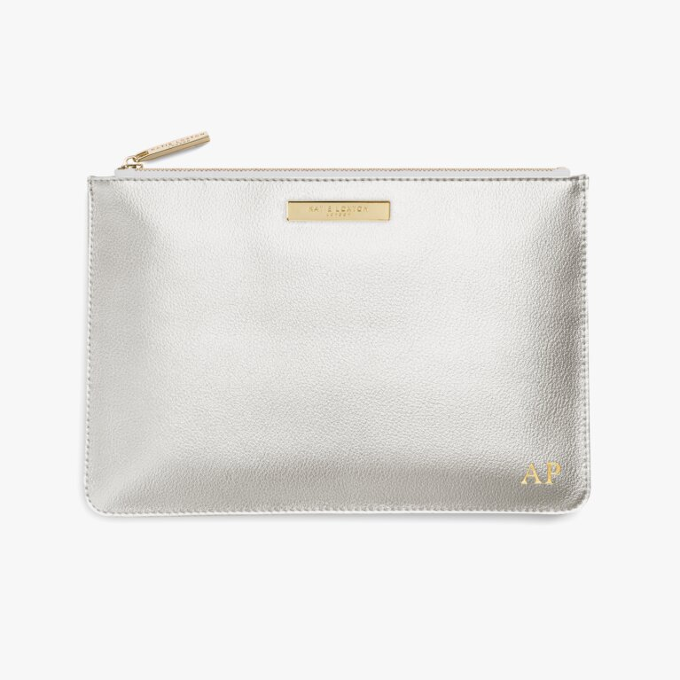 Soft Pebble Perfect Pouch In Metallic Silver