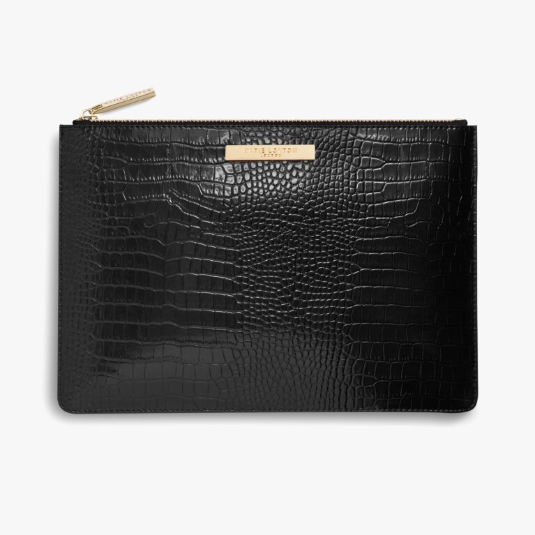 Celine Faux Faux Croc Luxe Clutch | Black