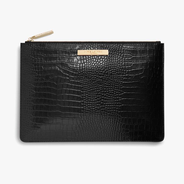 Celine Croc Luxe Clutch | Black