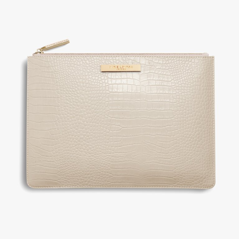 Celine Croc Luxe Clutch | Oyster