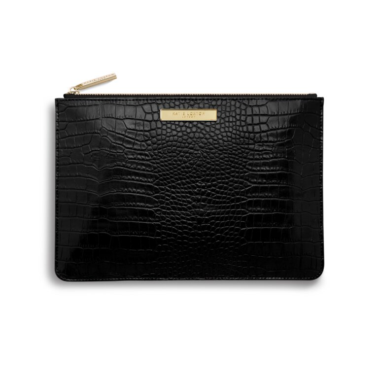 Celine Croc Perfect Pouch | Black