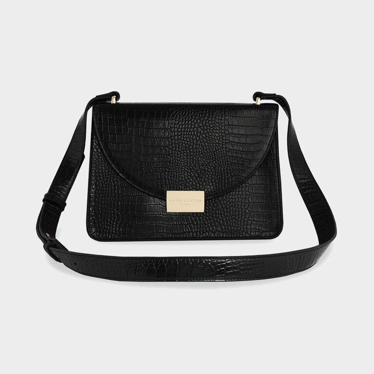 Celine Faux Croc Crossbody Bag | Black