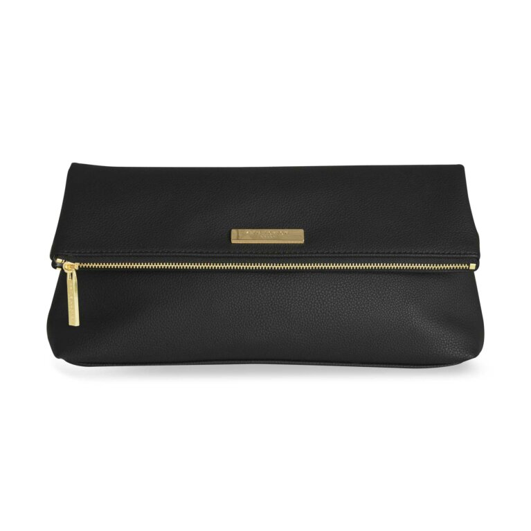Alise Soft Pebble Fold Over Clutch | Black