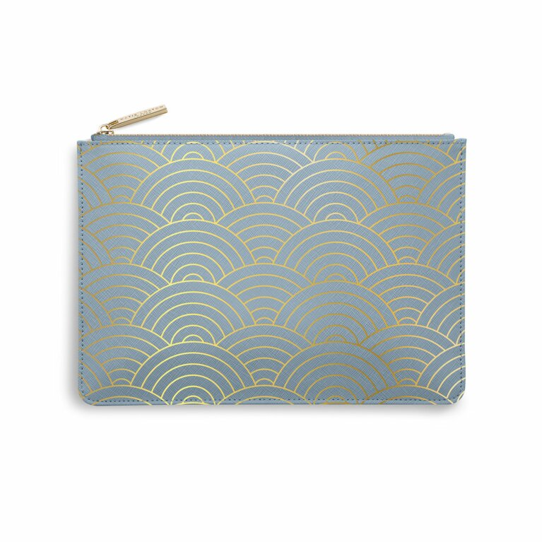 Perfect Pouch | Wave Print | Metallic Blue
