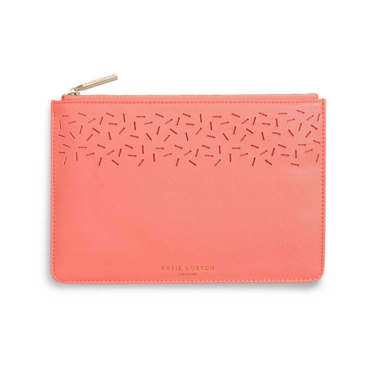 Laser Cut Perfect Pouch | Coral