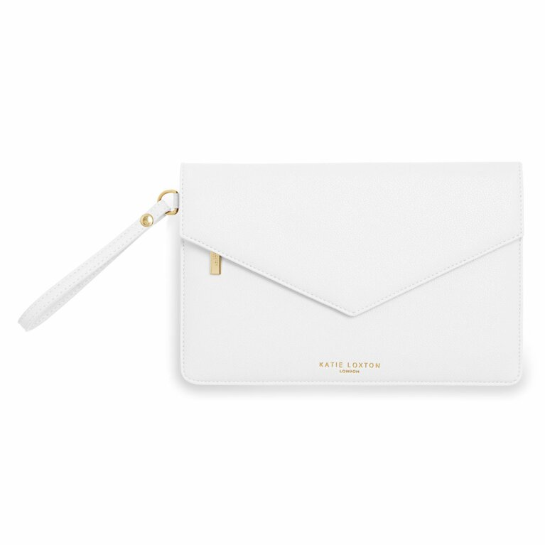 Esme Envelope Clutch Bag | White