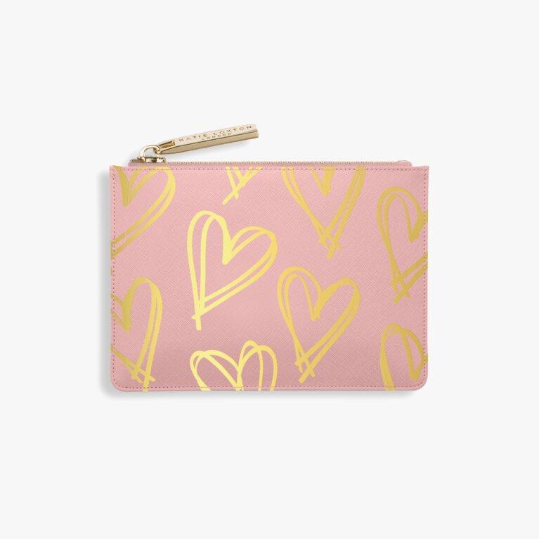 Heart Print Card Holder   Pink