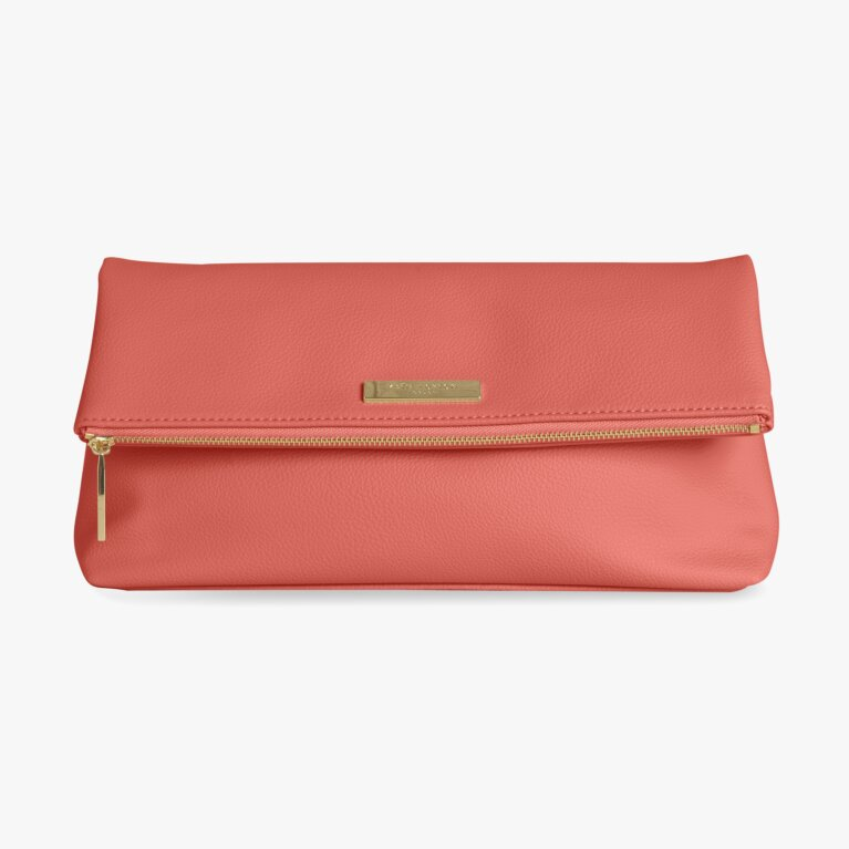 Alise Soft Pebble Fold Over Clutch | Coral