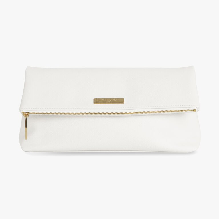 Alise Soft Pebble Fold Over Clutch | White
