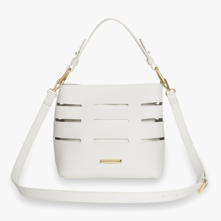 Alani Laser Cut Shoulder Bag | White