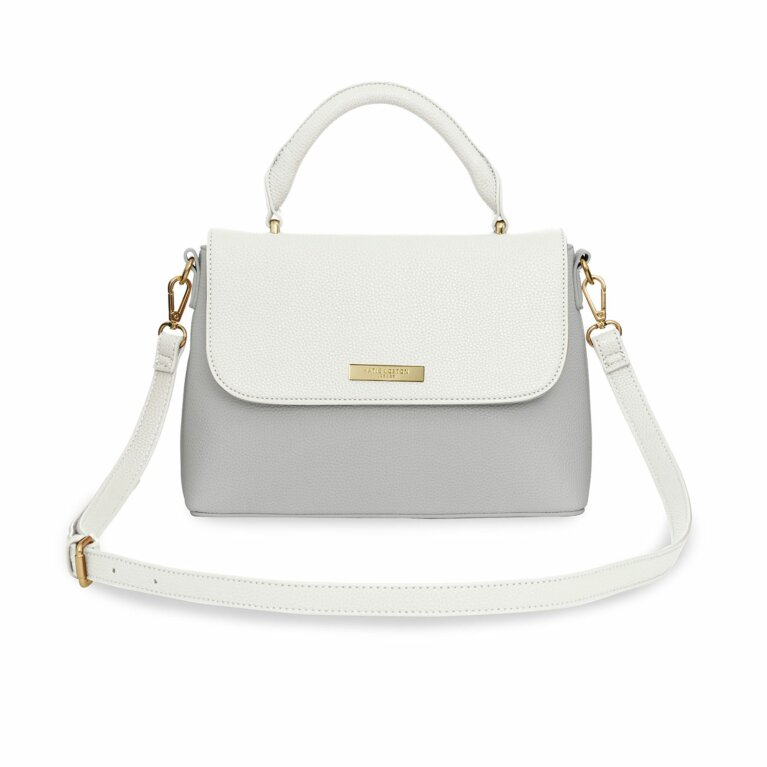 Talia Two Tone Messenger Bag In White And Pale Grey