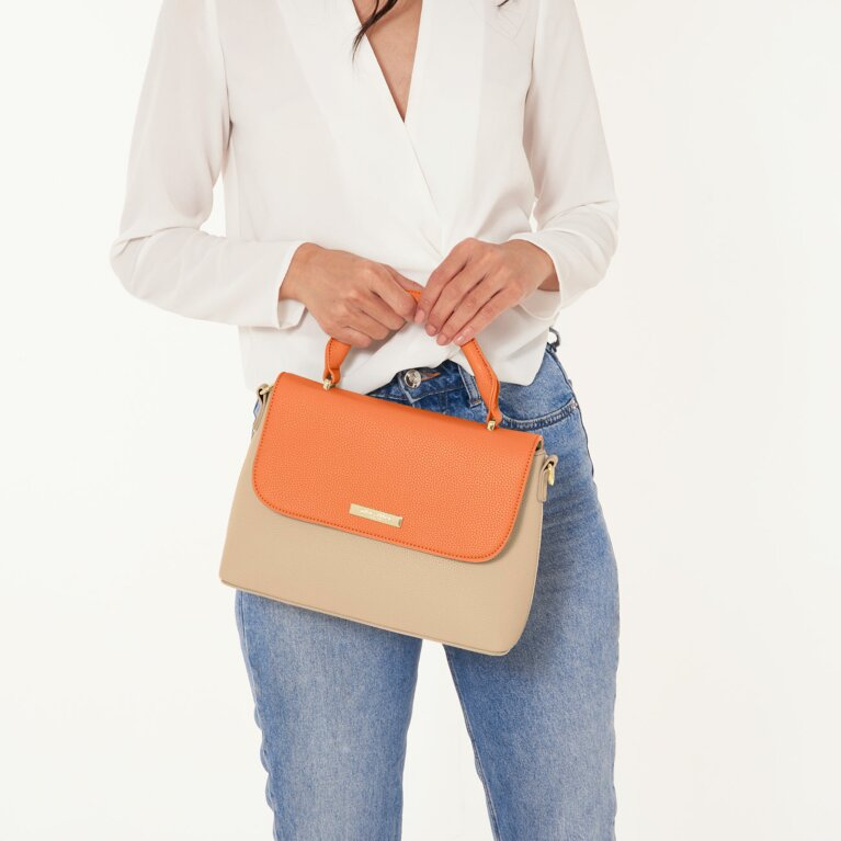 Talia Two Tone Messenger Bag | Burnt Orange And Tan