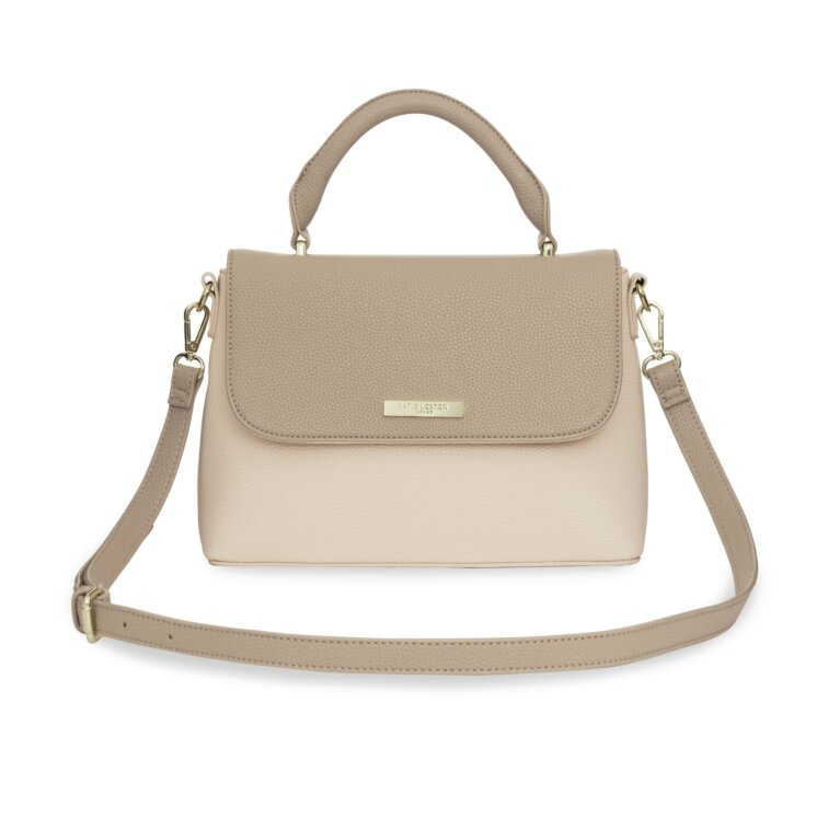 Talia Two Tone Messenger Bag In Taupe And Nude Pink