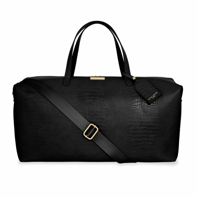 Celine Faux Croc Weekend Holdall Bag | Black