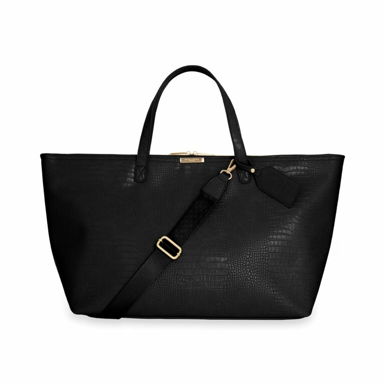 Celine Faux Croc Travel Bag | Black