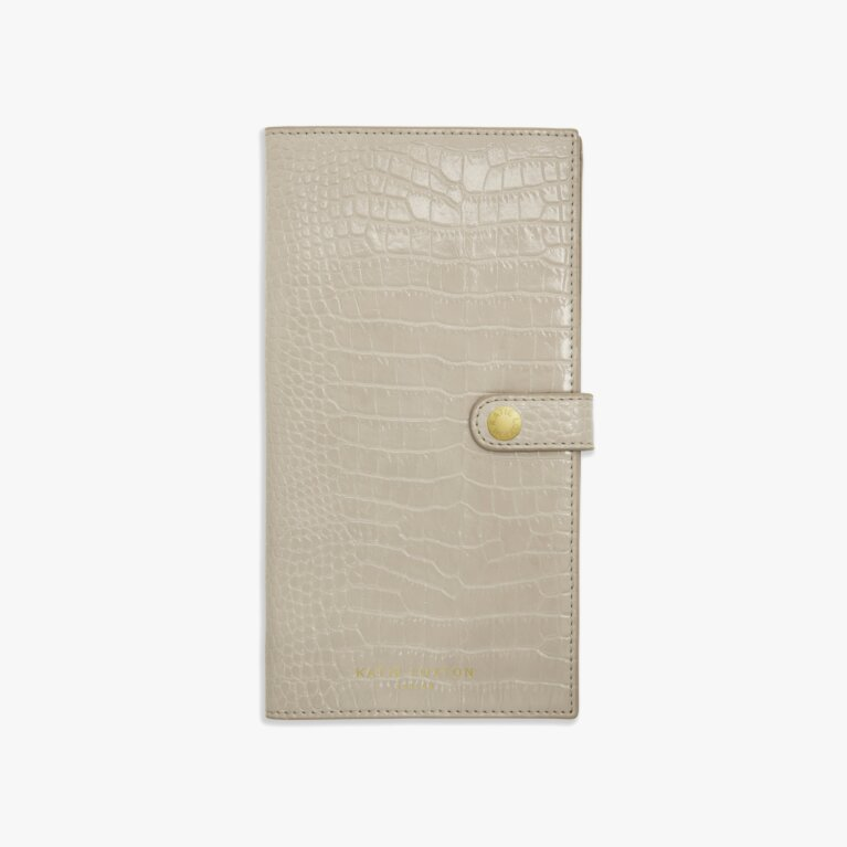 Celine Faux Croc Travel Wallet | Oyster Grey