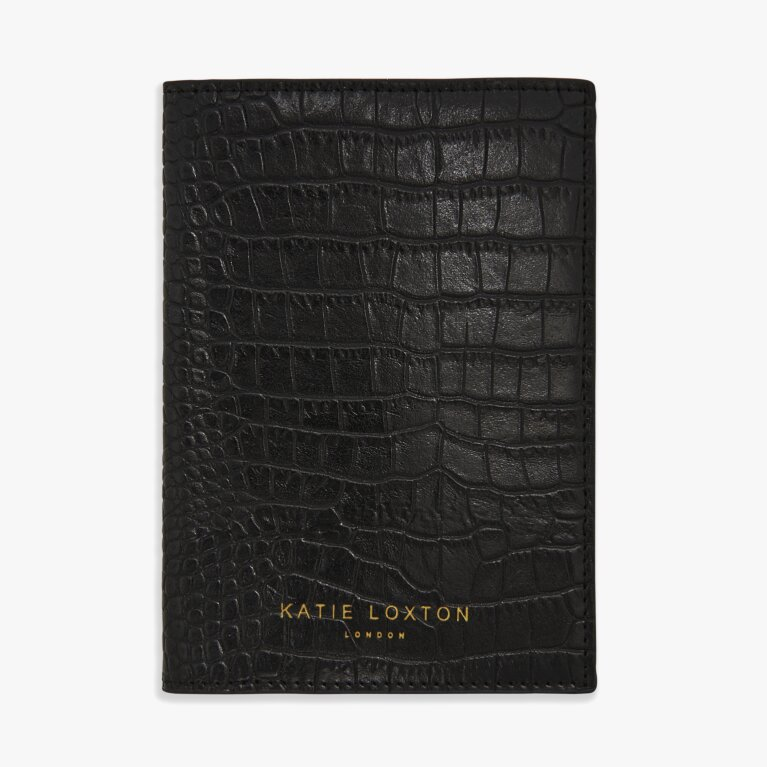 Celine Faux Croc Passport Holder | Black