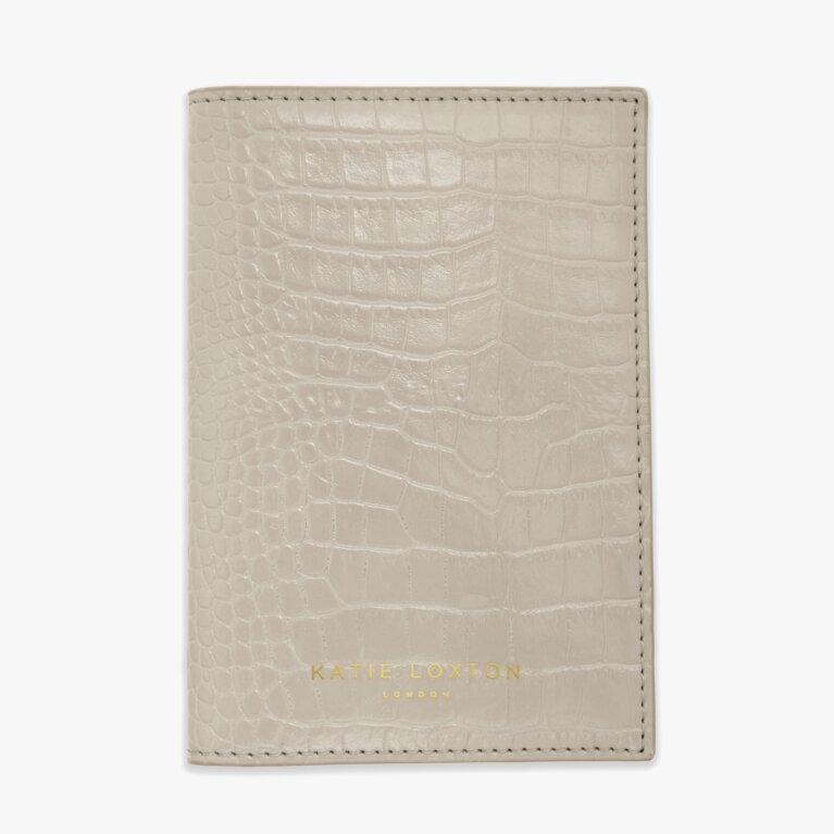 Celine Faux Croc Passport Holder | Oyster Grey
