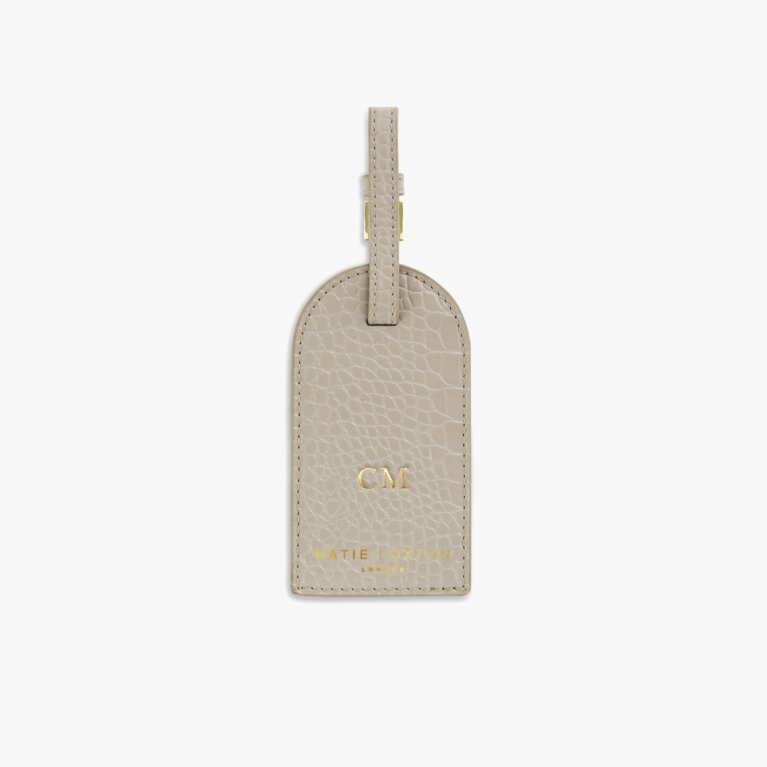 Celine Faux Croc Luggage Tag | Oyster Grey