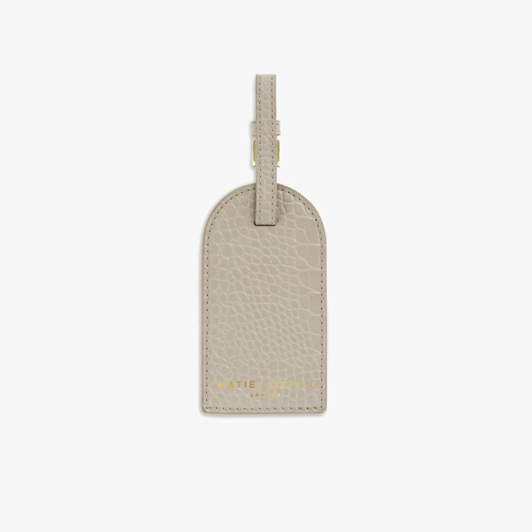 Celine Faux Croc Luggage Tag | Oyster Gray