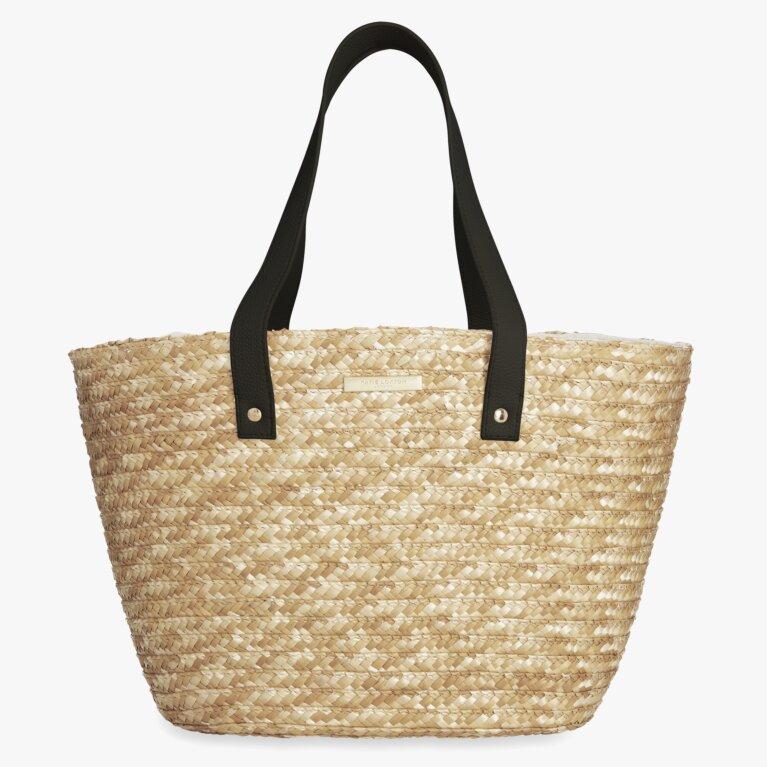Amelia Straw Day Bag | Black