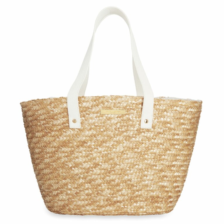 Amelia Straw Day Bag | White