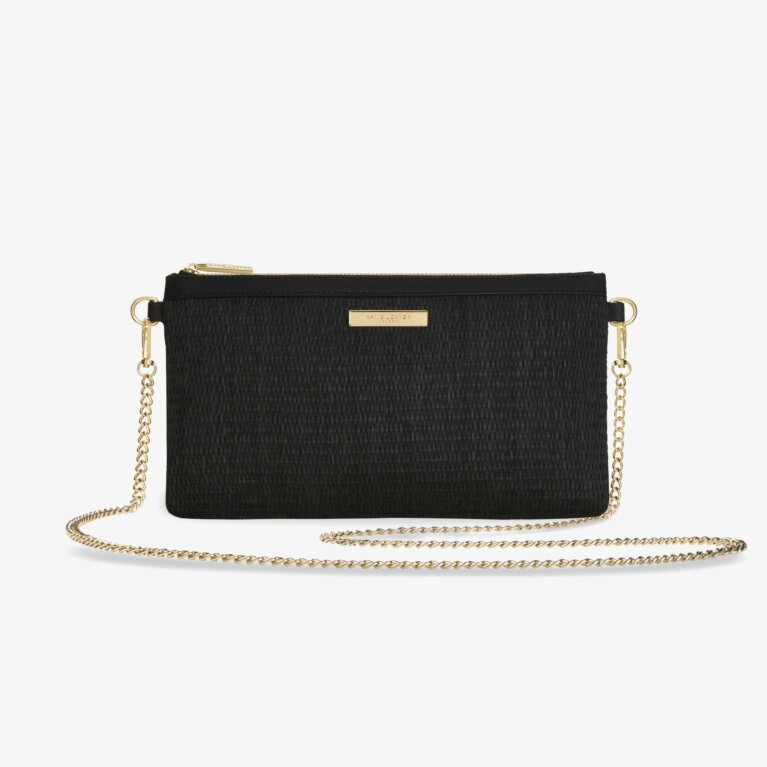 Callie Straw Pouch Cross Body Bag | Black