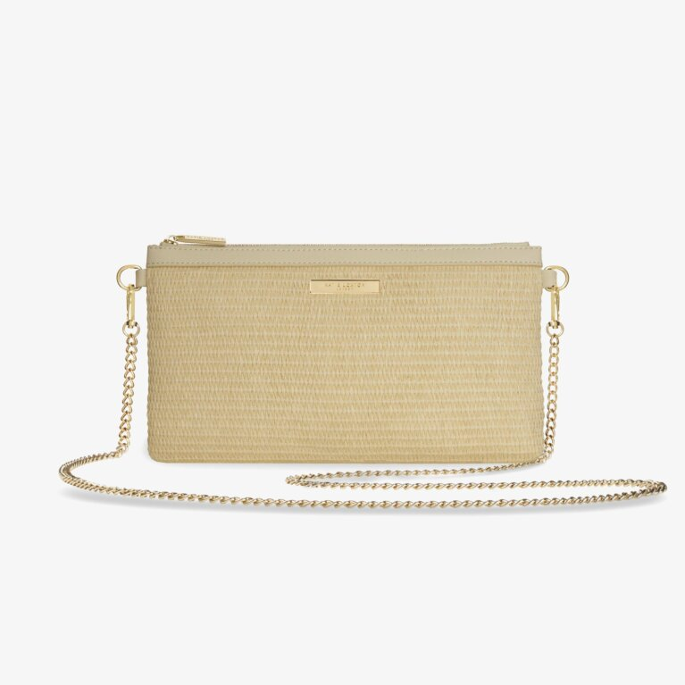 Callie Straw Pouch Cross Body Bag | Natural