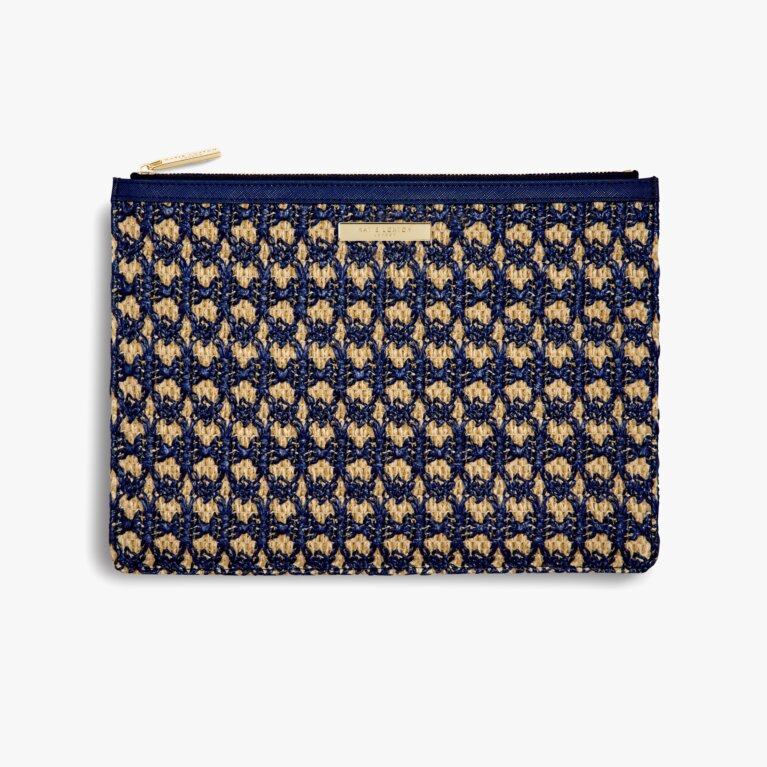 Willow Straw Clutch | Navy