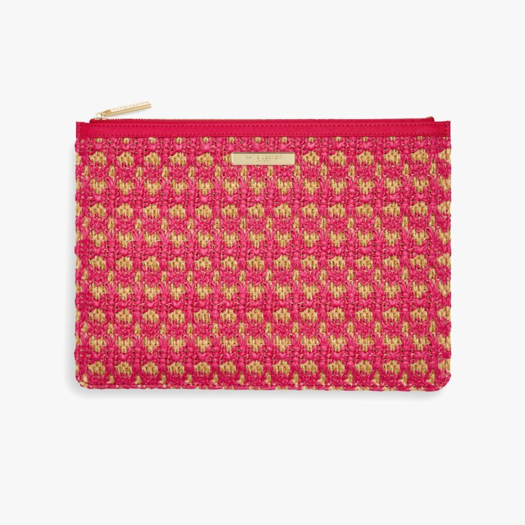 Willow Straw Clutch | Hot Pink
