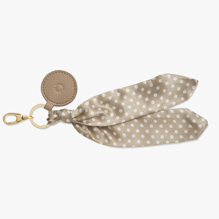 Carrie Scarf Keyring Bag Charm In Taupe Spot