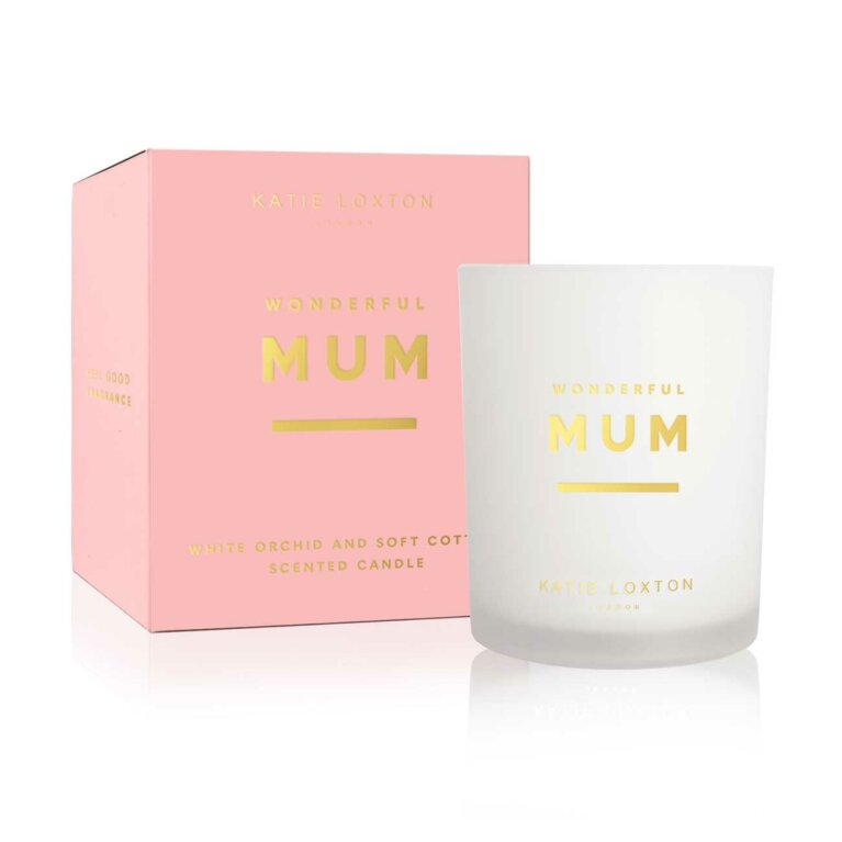 Sentiment Candle | Wonderful Mum | White Orchid and Soft Cotton