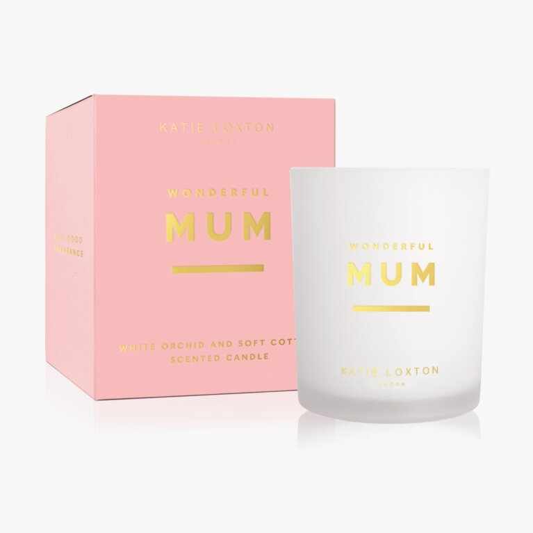 Sentiment Candle Wonderful Mum White Orchid And Soft Cotton