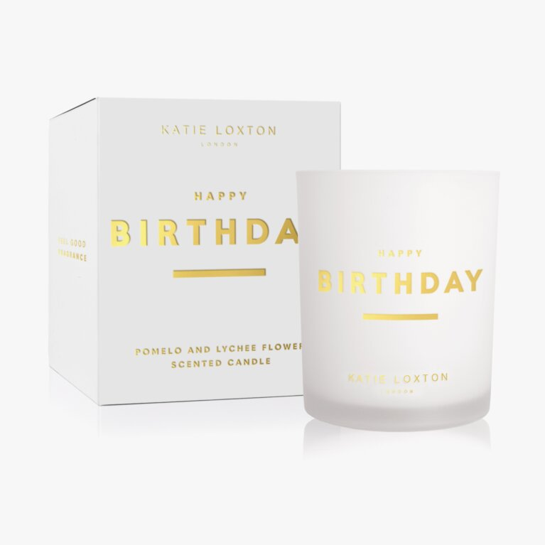 Sentiment Candle Happy Birthday Pomelo And Lychee Flower