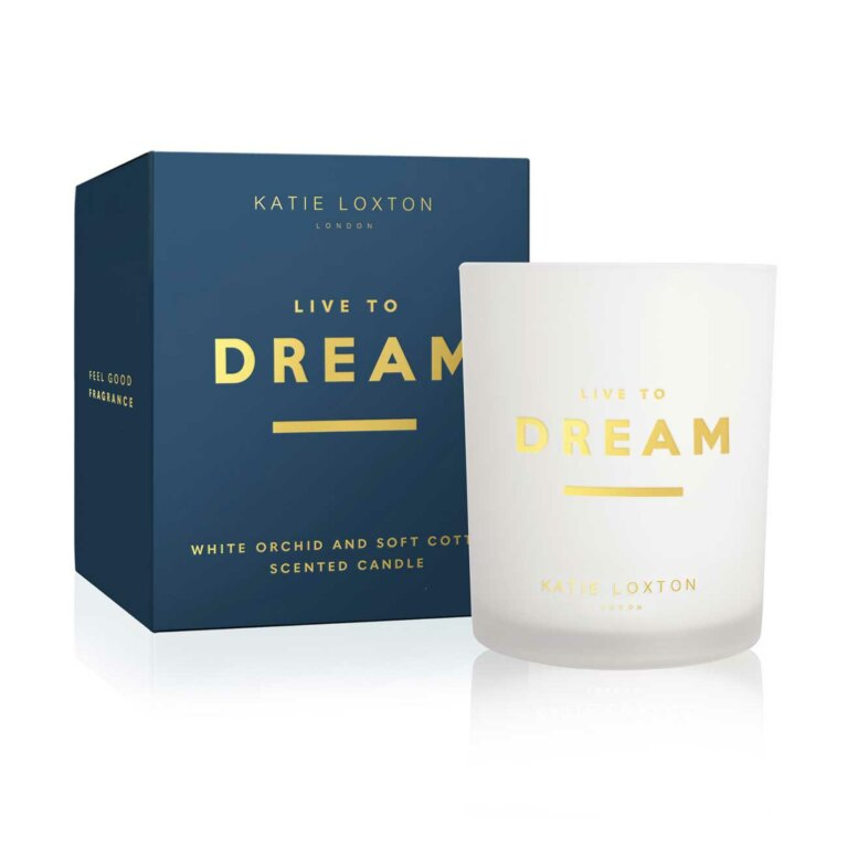 Sentiment Candle | Live To Dream | White Orchid and Soft Cotton