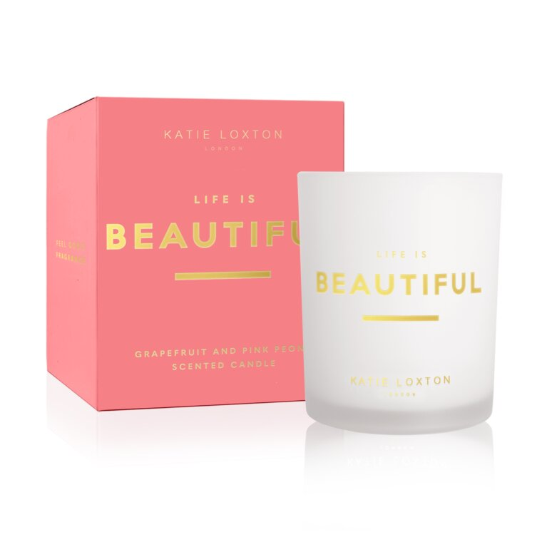Sentiment Candle Life Is Beautiful Grapefruit And Pink Peony