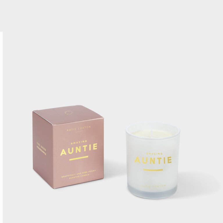 Sentiment Candle Amazing Auntie Grapefruit and Pink Peony