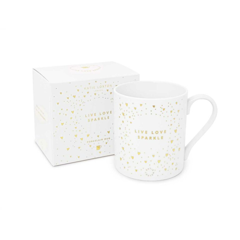Porcelain Mug | Live Love Sparkle | White and Gold