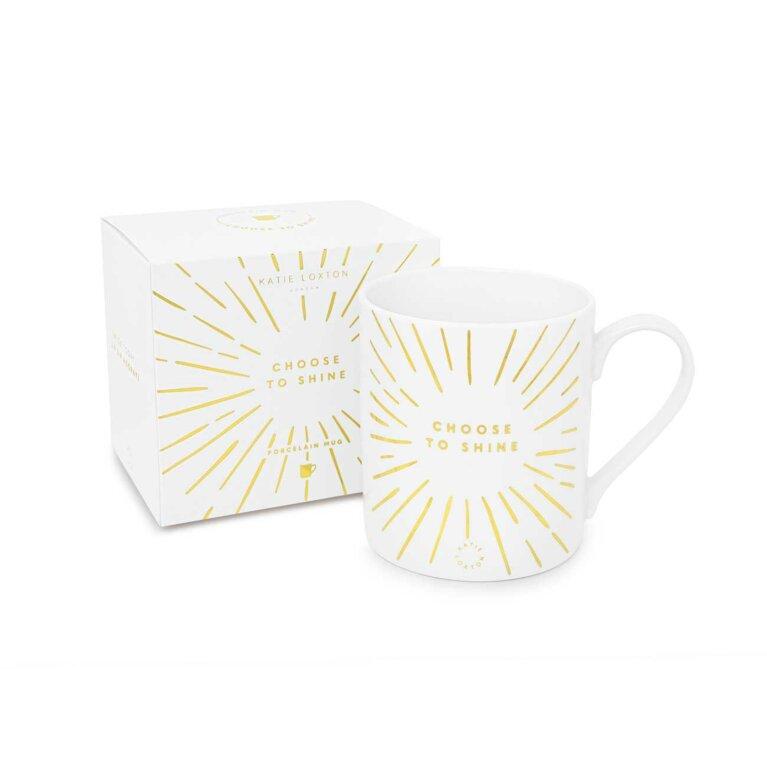 Porcelain Mug   Choose To Shine   White and Gold