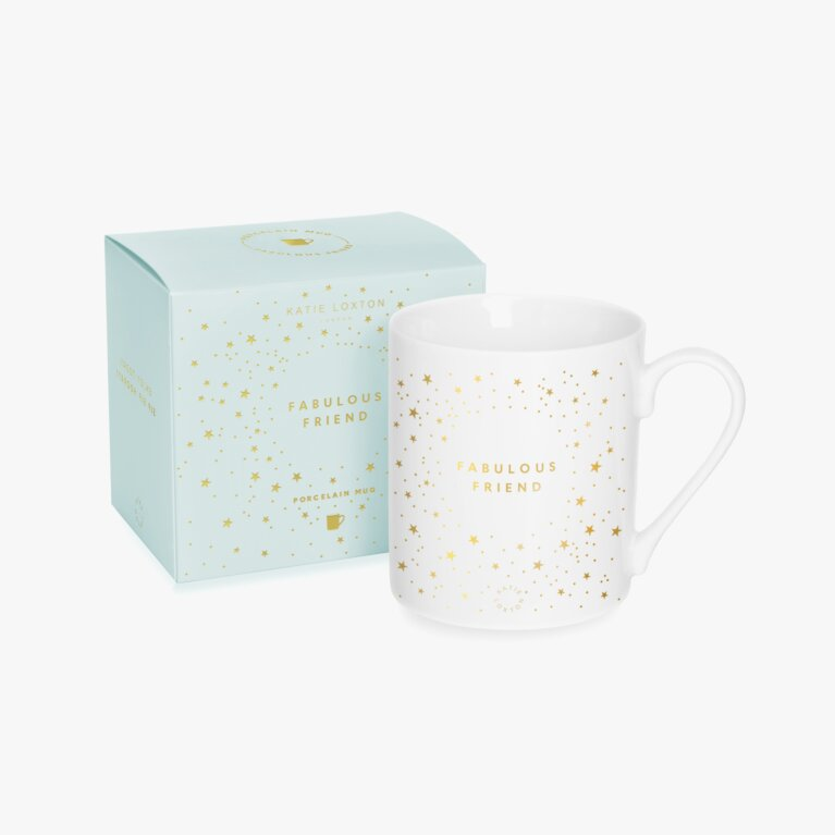 Porcelain Mug Fabulous Friend In White And Gold