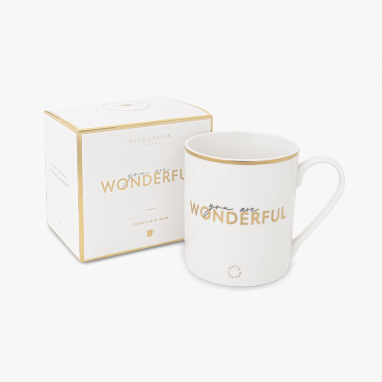 Porcelain Mug You Are Wonderful In White And Gold