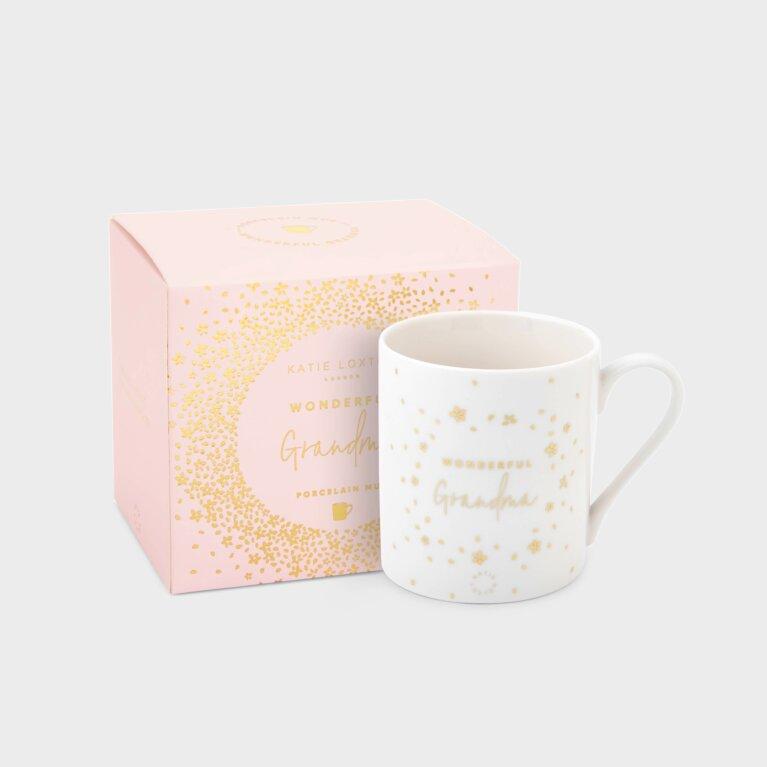 Boxed Porcelain Mug Wonderful Grandma In White And Gold