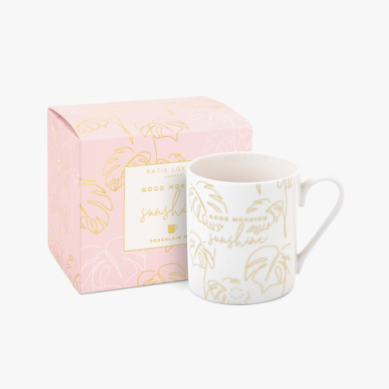 Boxed Porcelain Mug Good Morning Sunshine In White And Gold