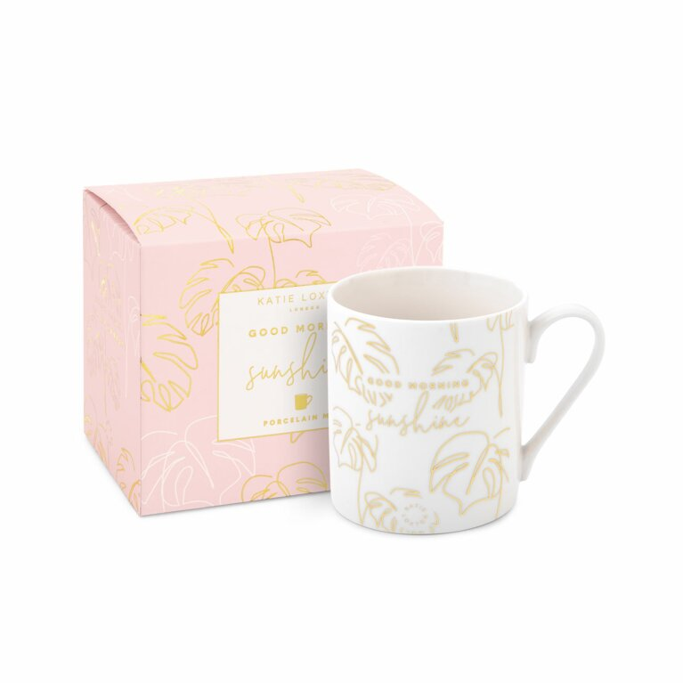 Boxed Porcelain Mug | Good Morning Sunshine | White and Gold
