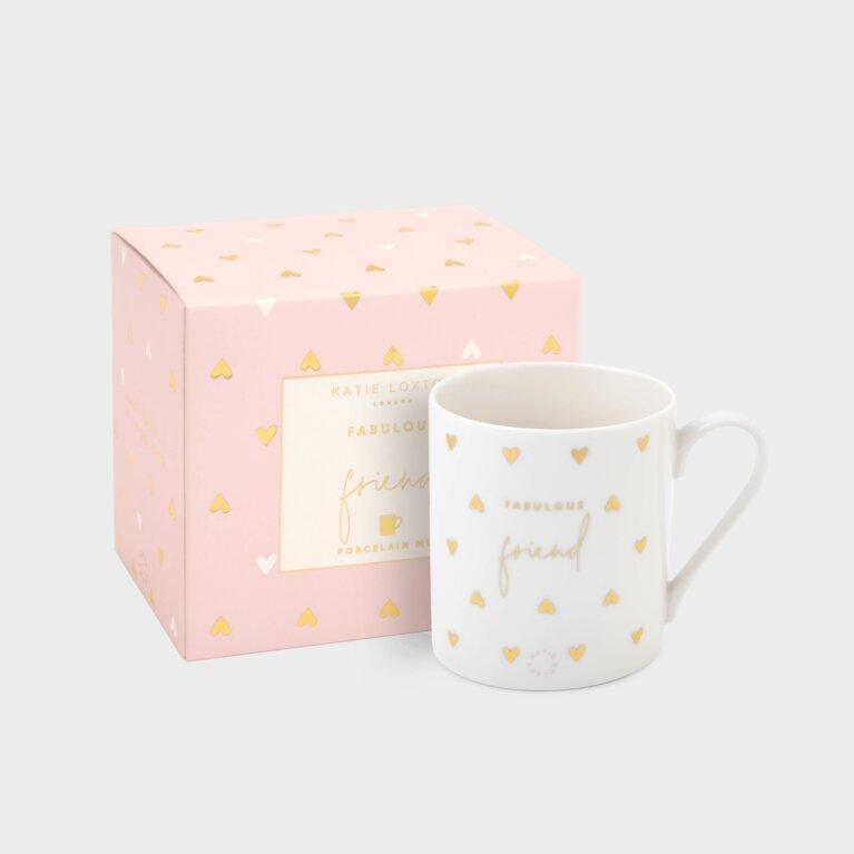 Boxed Porcelain Mug Fabulous Friend White And Gold