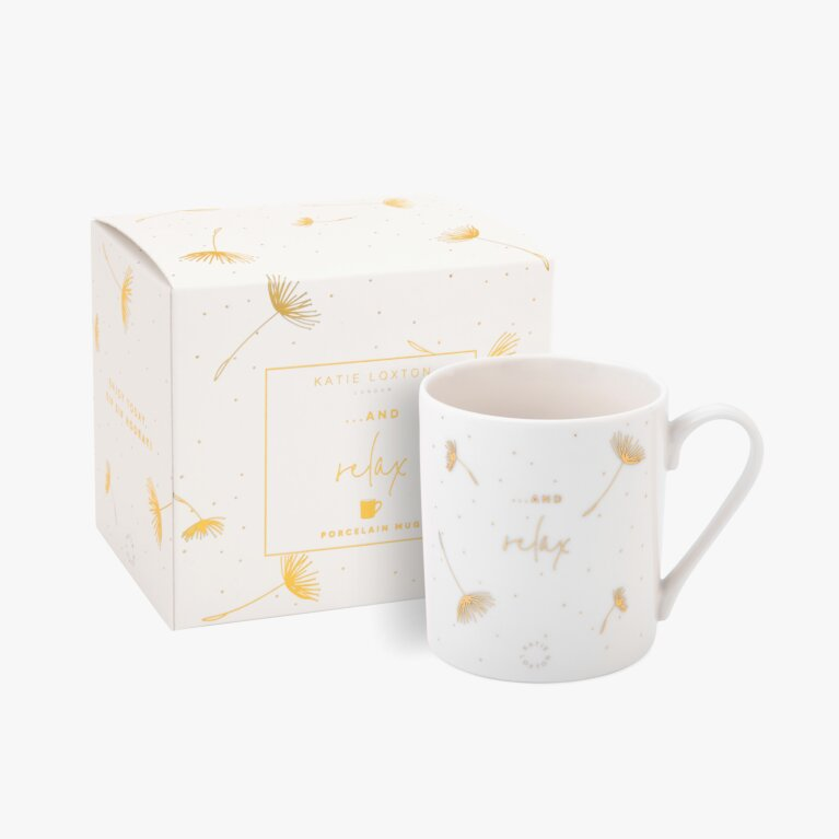 Boxed Porcelain Mug And Relax In White And Gold