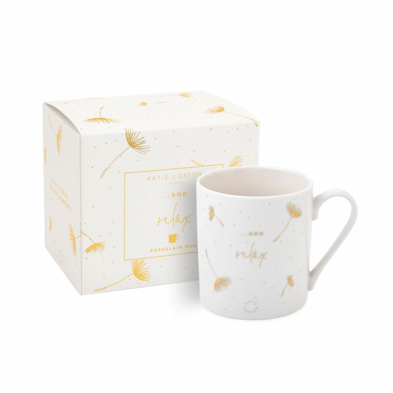 Boxed Porcelain Mug | And Relax | White and Gold