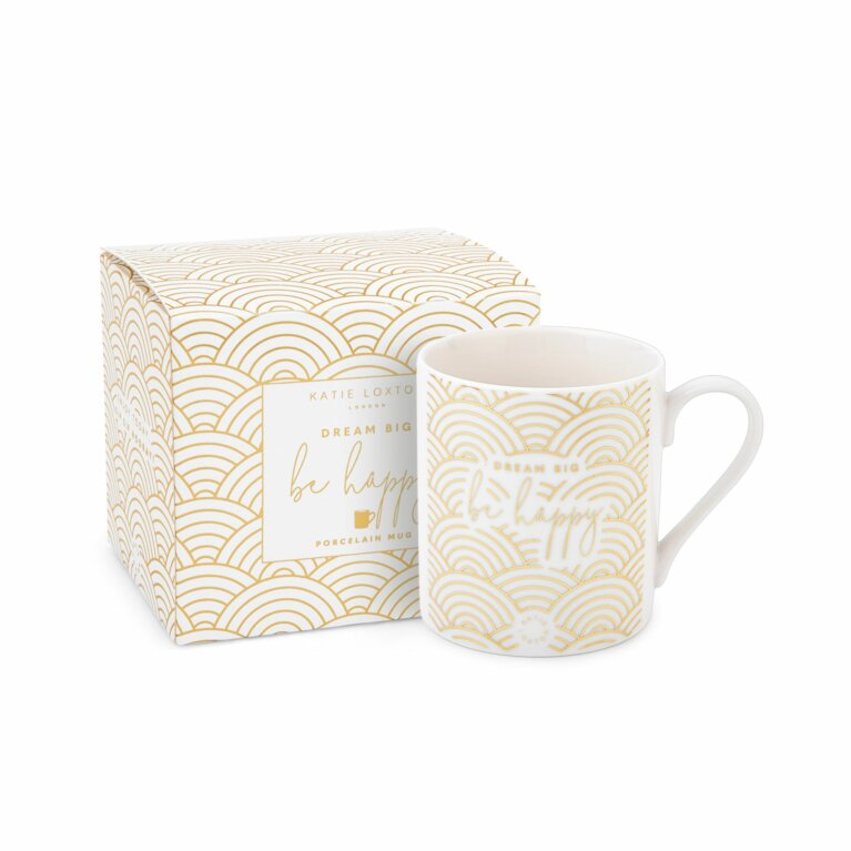 Boxed Porcelain Mug | Dream Big Be Happy | White and Gold
