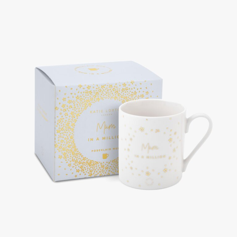 Boxed Porcelain Mug Mum In A Million In White And Gold