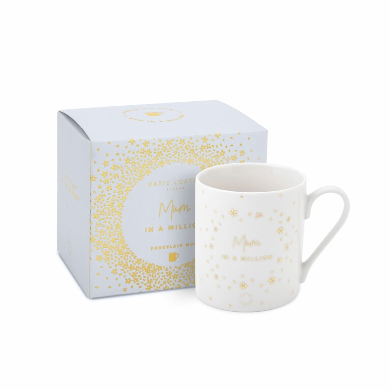 Boxed Porcelain Mug | Mum In A Million | White and Gold